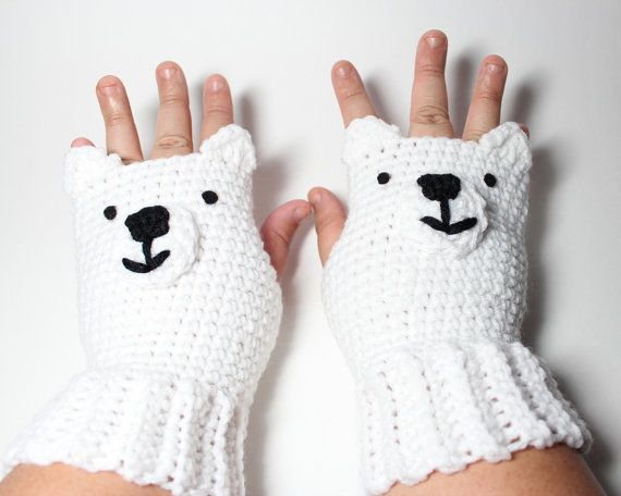 Polar Bear fingerless gloves crochet idea