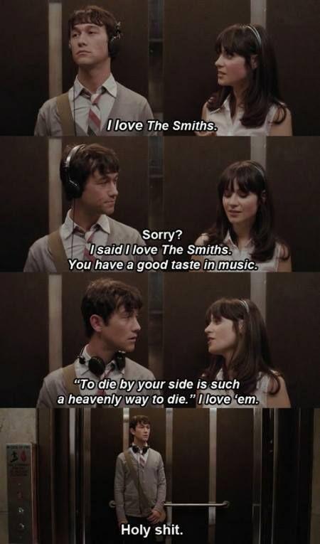 "Joseph Gordon-Levitt and Zooey Deschanel bond over The Smiths in ""500 Days of Summer."" So cute :)"