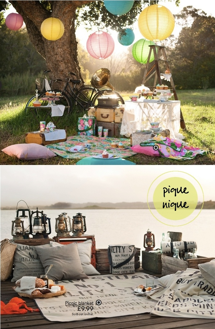 Paper lanterns & picnic blanket