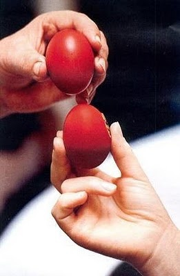 The Greek Easter is Different from American  - it has Tsougrisma (egg cracking game) if your egg stays intact you will have a good year.