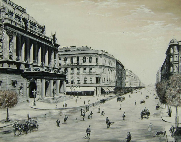 Andrássy Avenue at the Opera house, 1900. Oil painting by Istvan Szemzo. Budapest, Hungary.