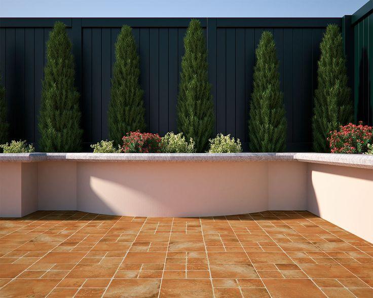 Los tonos naranja cobrizos funcionan muy bien para espacios con vegetación.