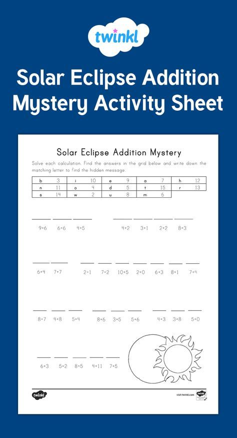 20 best eclipse images on pinterest a fun solar eclipse math mystery that students solve using addition and a code twinkl fandeluxe Gallery