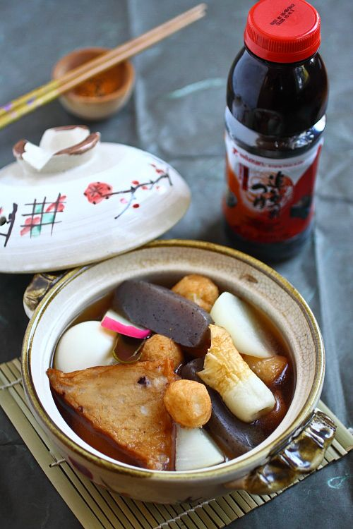 Oden is a Japanese dish of stewed fish balls and fish cakes during Fall & Winter. This is a one pot dish for the family.