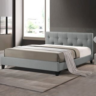 Baxton Studio Annette Gray Linen Modern Bed with Covered Buttons | Overstock.com Shopping - Great Deals on Baxton Studio Beds