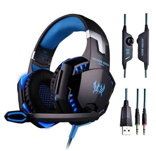 Kotion Each G2000 Over-ear 3.5mm Stretchable Band Video Gaming Headphone - Blue