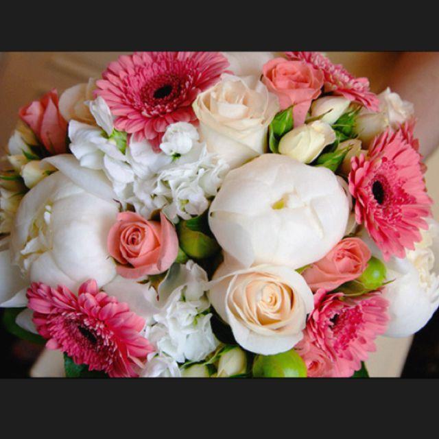 Beautiful peony and gerbera bouquet
