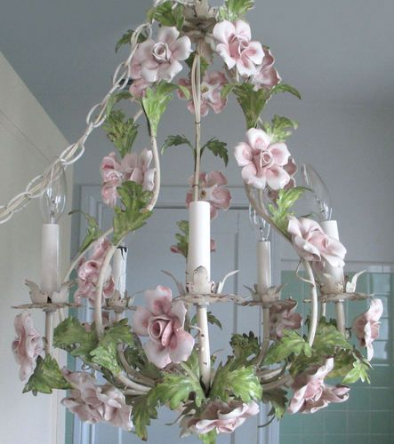 Love The Wall Finishes Chandelier And The Overall Tuscan: Vintage SHABBY Italian TOLE Chandelier 5-Candle Large PINK