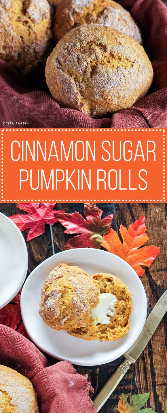 These Cinnamon Sugar Pumpkin Rolls are super easy to make - only one bowl and no yeast required! They're ready in 45 minutes and perfect as a quick breakfast or snack.