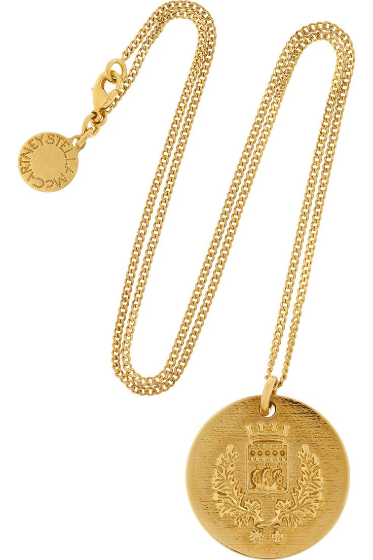Stella McCartney | Crest-embossed gold-tone pendant necklace | NET-A-PORTER.COM