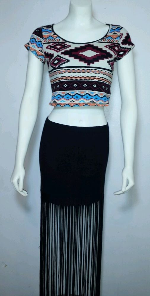 Wet Seal long black fringe skirt Med. & Rue 21 Aztec crop top L women's #WelSeal