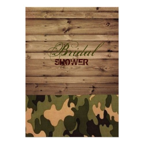 rustic wood western country Camo bridal shower Card
