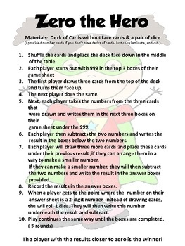 """I always have a difficult time finding challenging addition and subtraction games for late secone-fifth graders.  It's usually always basic skills.  So here is the file """"Zero the Hero 3-Digit Subtraction with Regrouping Game"""""""