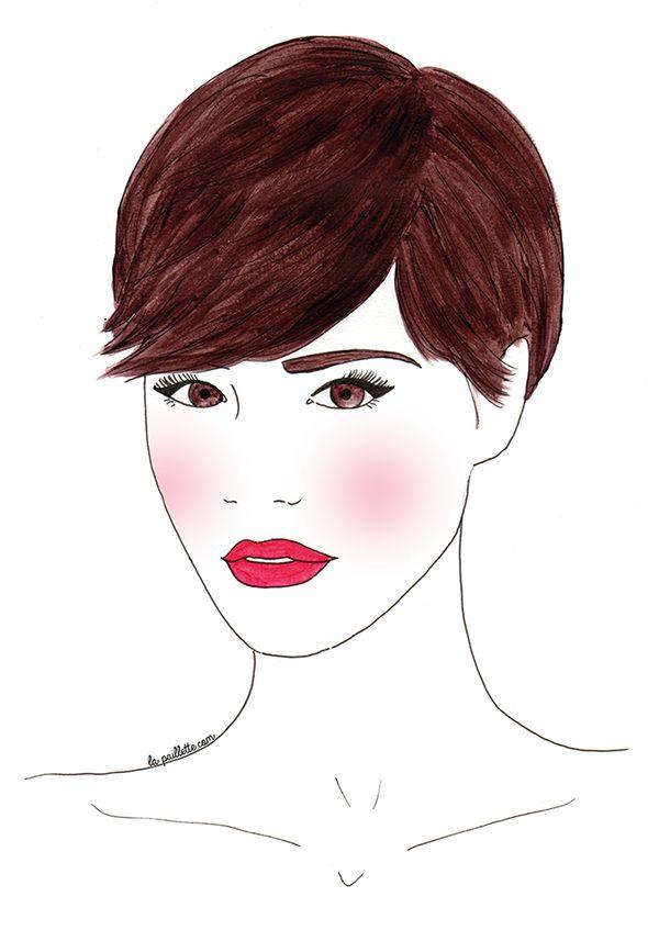 portrait peinture coupe courte brune haircut