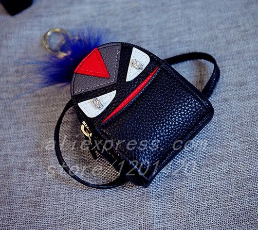 purse mini cartoon monster keychain backpack schoolbag Mao pendant keychains pu leather mini bag cute monster bag charm