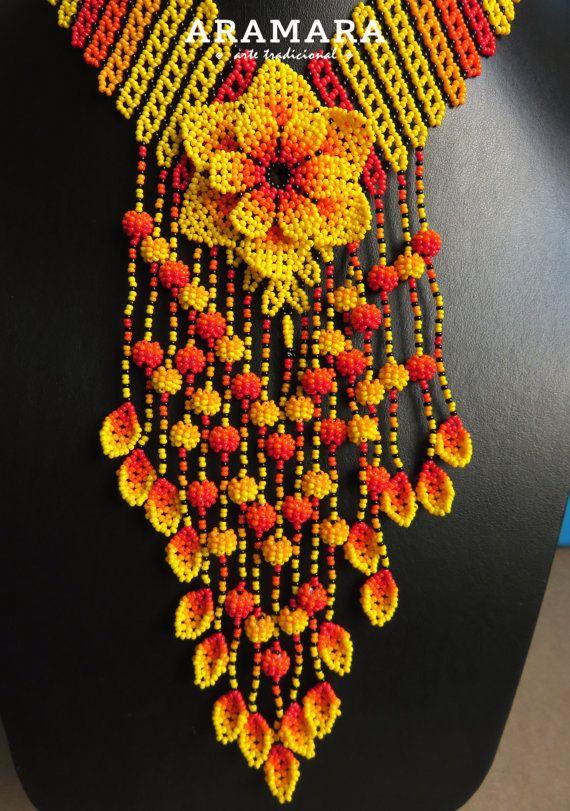 Mexicana Huichol cuentas amarillo flor collar CFG-0073