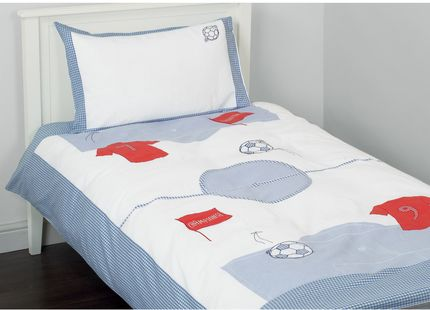 Football Applique Bedset For little boys who are football mad, what could be more suitable than this smart bedset. Comprising a duvet cover decorated with appliqued football paraphernalia and a matching, gingham-trimmed pillowcase.