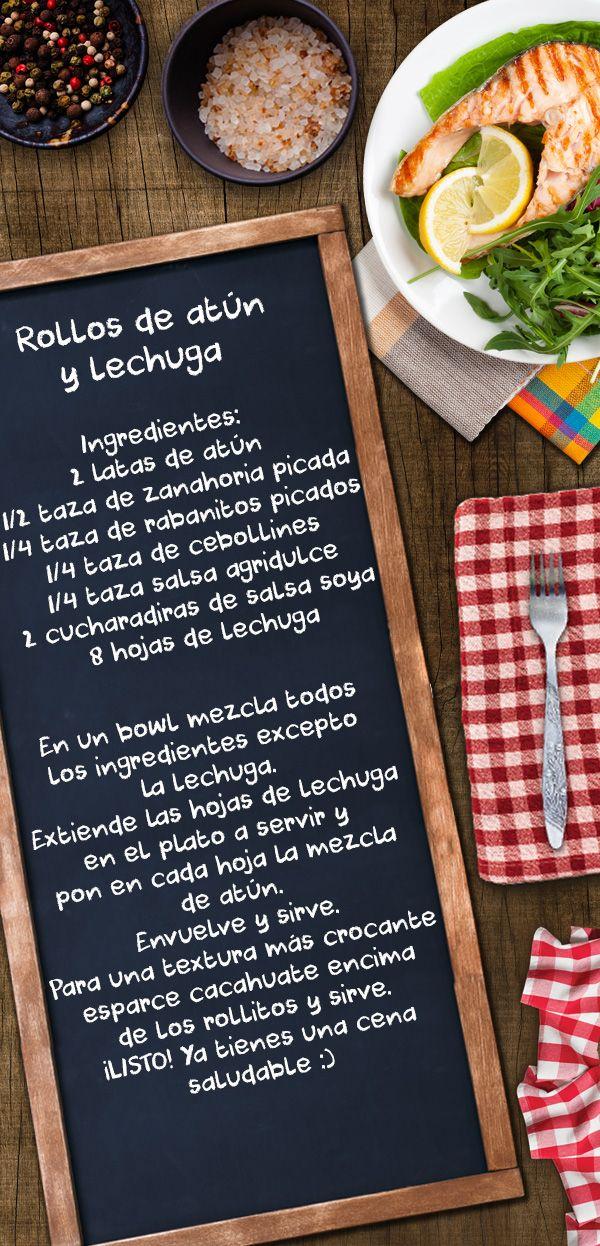 ROLLOS DE ATÚN CON LECHUGA Necesitas: atún, zanahoria, rabanitos, cebollines, salsa agridulce, salsa soya y lechuga. Una receta muy baja de calorías y muy alta en nutrición :)