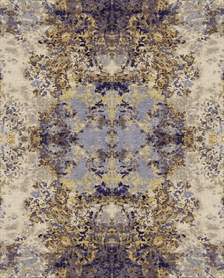 Akasa.  As the name reveals, this carpet is all about mirror images entwined with modern and abstract pattern. Intricate and vibrant design set in a modern yet vintage, layered style. The texture and the minute details are something to look for. Artistic, quiet, and in perfect harmony. Hand knotted in linen, pure silk, and wool. Available in gold, purple gold, red, and turquoise hues. Visit: http://hands-carpets.com/ #handscarpets #rugs #carpets #handmade #handknotted