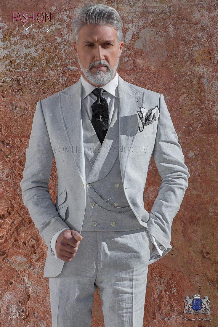 Italienisch Anzug hellgrau aus reiner Leinen