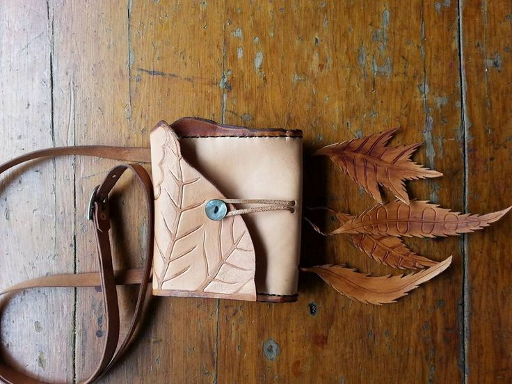 Dainty Natural Leather Slingbag, Handtooled with Leaf Design with Leather Leaf trims and a Mother of Pearl Button by Nicky