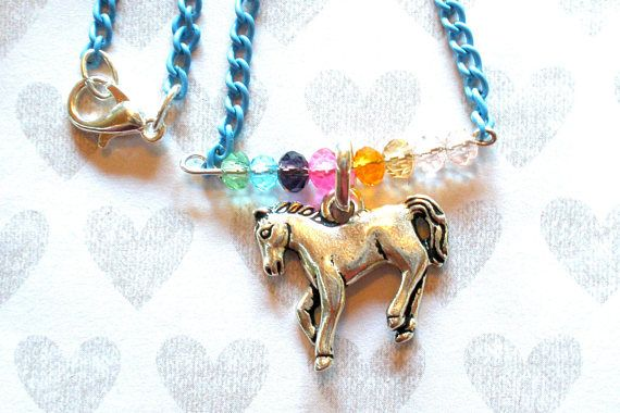 GIRLS HORSE CHARM Necklace Girls Charm Necklace Blue Chain