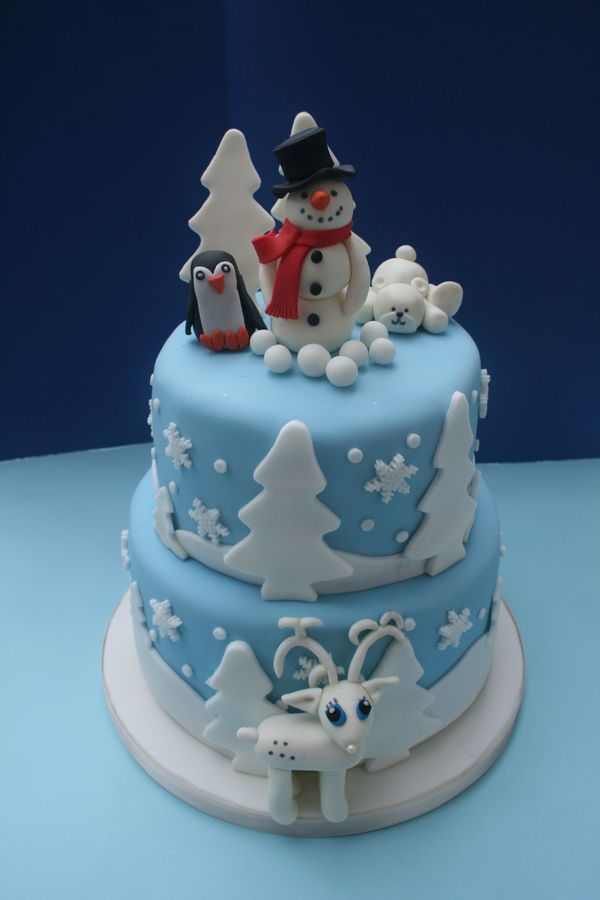 Winter Themed Cakes Winter Themed Two Tiered Chocolate