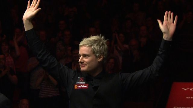Neil Robertson becomes the first snooker player to complete 100 century breaks in a season
