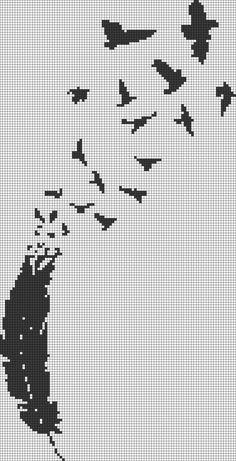 plume-feather-oiseaux-birds-monochrome--point de croix-cross stitch