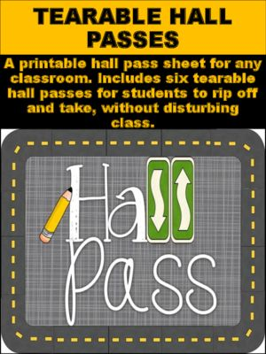 Printable Hall Passes For Students Free Pass Template Pdftearable