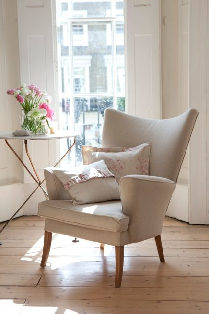 Cushions in Peony and Sage Fabrics shot in Holland Park