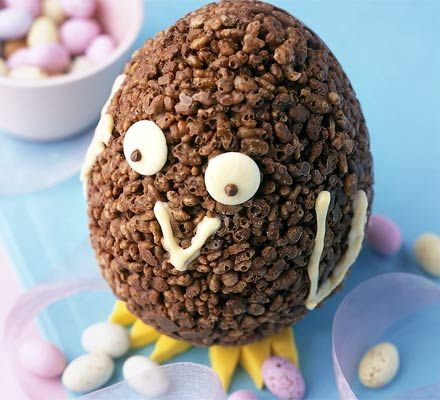 Chocolate Krispie chick. A crispy treat specially for Easter that kids will love to make during the school holidays.