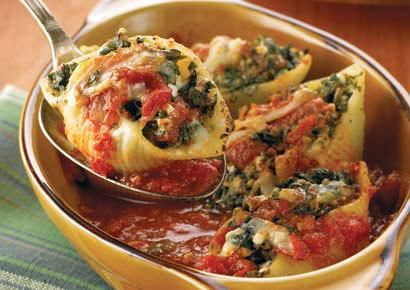 Spinach-Stuffed Shells. Healthy Pasta!