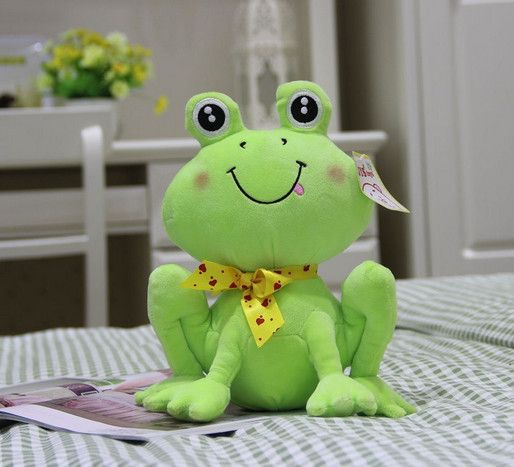 Free Shipping small size 36cm hot sale soft plush animals frogs cute bowknot green frogs stuffed plush doll frogs for baby toys