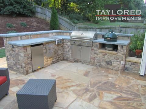 Dad would love an Outdoor Kitchen with Stone Floor!