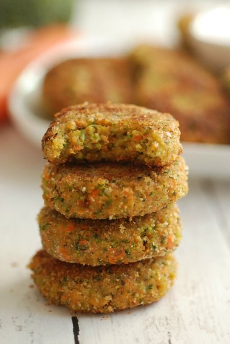 Veggie Nuggets - Make these with cauliflower rice instead of breadcrumbs, and use butter or coconut oil for cooking.
