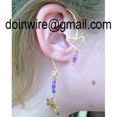 doinWire-DOW247 Ear Wrap, gold tone craft wire, top heart with pink/purple/pink…