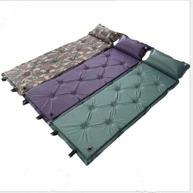 Self Inflating Camping Mat Moistureproof Tent Air Sleeping Mattress With Pillow Cushion Outdoor Picnic Mat Camping Single Ma Camping Pad Camping Mat Picnic Mat