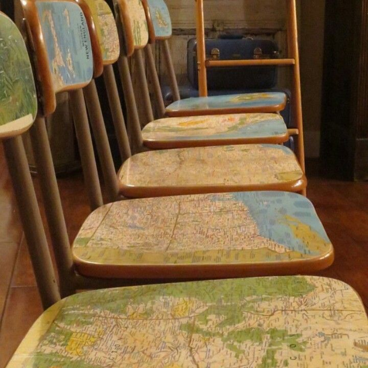 This would be great for chairs or end table with maps of family vacations  (www.ChefBrandy.com)