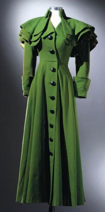 Worn by Vivien Leigh in the 1941 film, That Hamilton Woman. It sold at auction in 2002. Costumes by Rene Hubert
