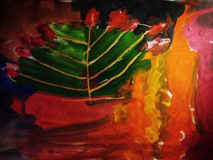 рисование границ свечой (или восковыми карандашами), потом закрашиваем краской места от свечи остаются, внутри закрашиваем другим цветом