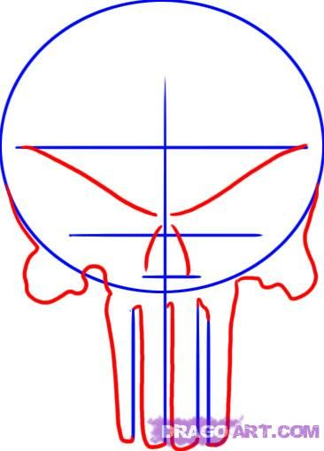 how to draw the punisher skull step 2