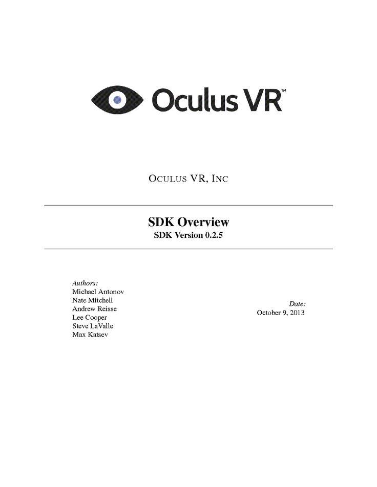 Oculus Rift Programming Guide