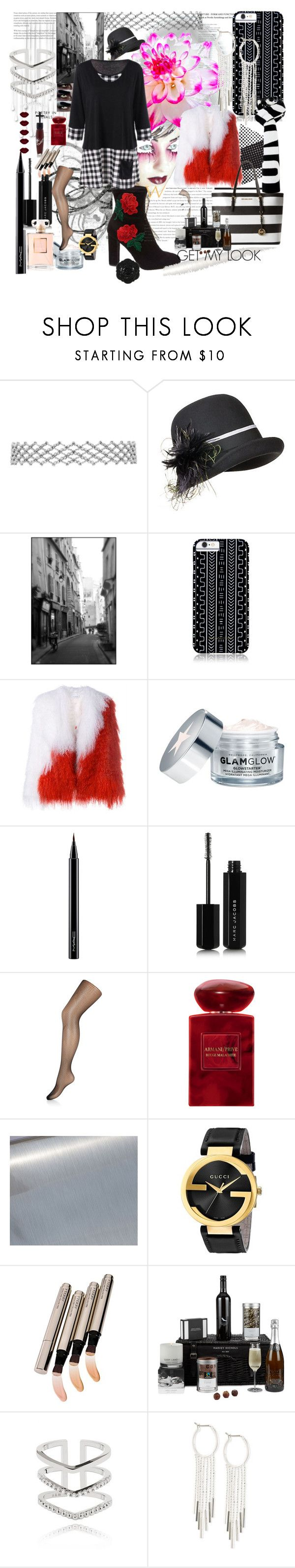 """""""BEING YOU, #flower#plussize#dress#choker #décor#boots#embroery#beauty #art#glow#jewerly#coffee#purse #coat#jacket#scarf#phonecase #hat#watch#fishnetstocking"""" by carriearmstrong269 ❤ liked on Polyvore featuring Overland Sheepskin Co., Savannah Hayes, Saks Potts, GlamGlow, MAC Cosmetics, Marc Jacobs, Accessorize, Manic Panic NYC, Giorgio Armani and Gucci"""