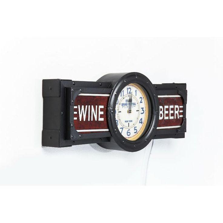 Ρολόι τοίχου Wine-Beer Time Ένα ιδιαίτερο ρολόι τοίχου σε vintage look. Υλικό : Σίδηρο, Νιτροκυπαρίνη λάκα (NC), γυαλί, λαμπτήρας μικτός 1x12W (εκτός) και μπαταρία 1xAA (εκτός).