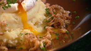 Tatjespap met gepocheerd ei en grijze garnalen | Lekker van bij ons