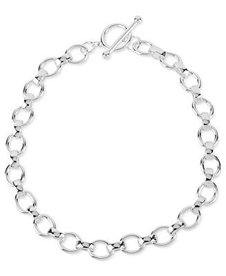Touch of Silver Silver-Plated Brass Necklace, Oval Link Necklace