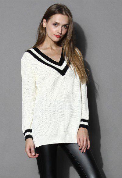 Контраст Глубокий V-образный вырез свитера в белом