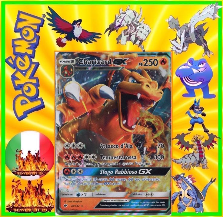 Pokemon, charizard gx, 20/147, in italiano