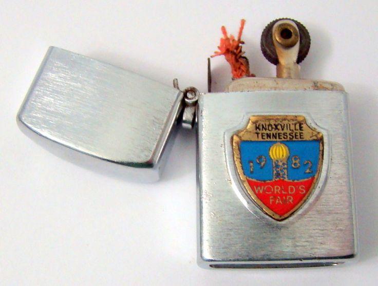 Vtg. Knoxville Tennessee 1982 Worlds Fair Flip Lighter Stainless Steel Japan